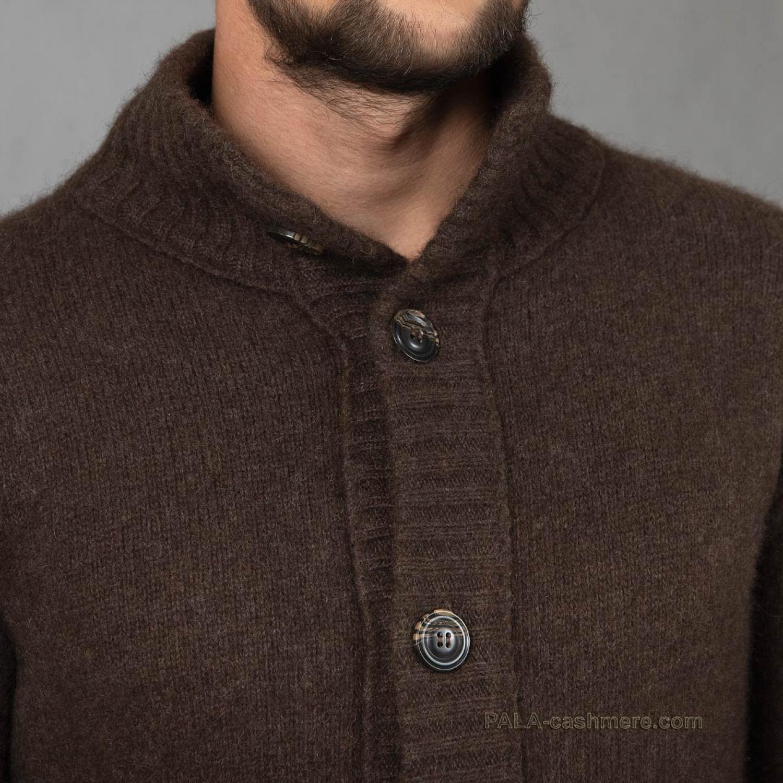 Кардиган шерсть яка мужской коричневый