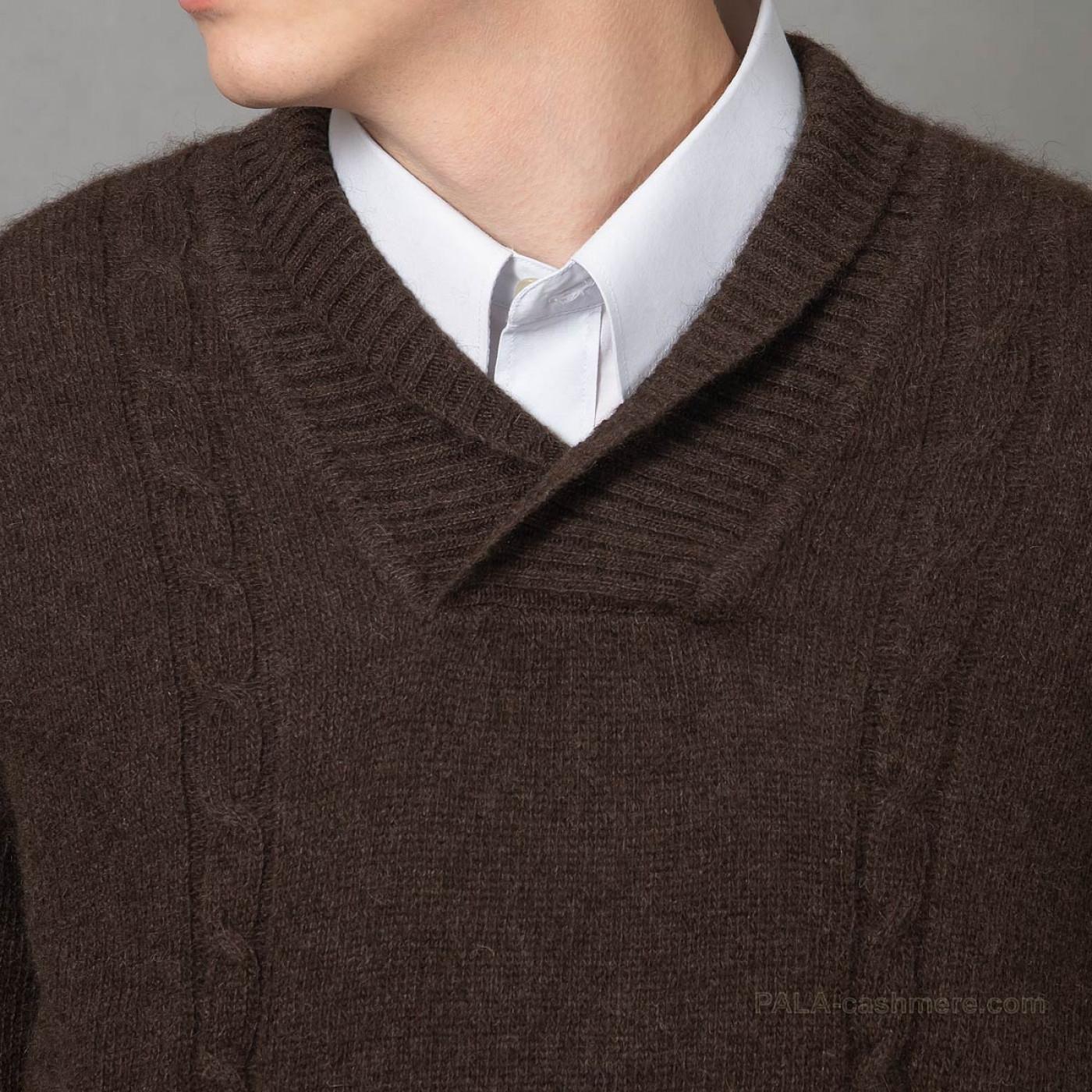 Пуловер из шерсти яка коричневый