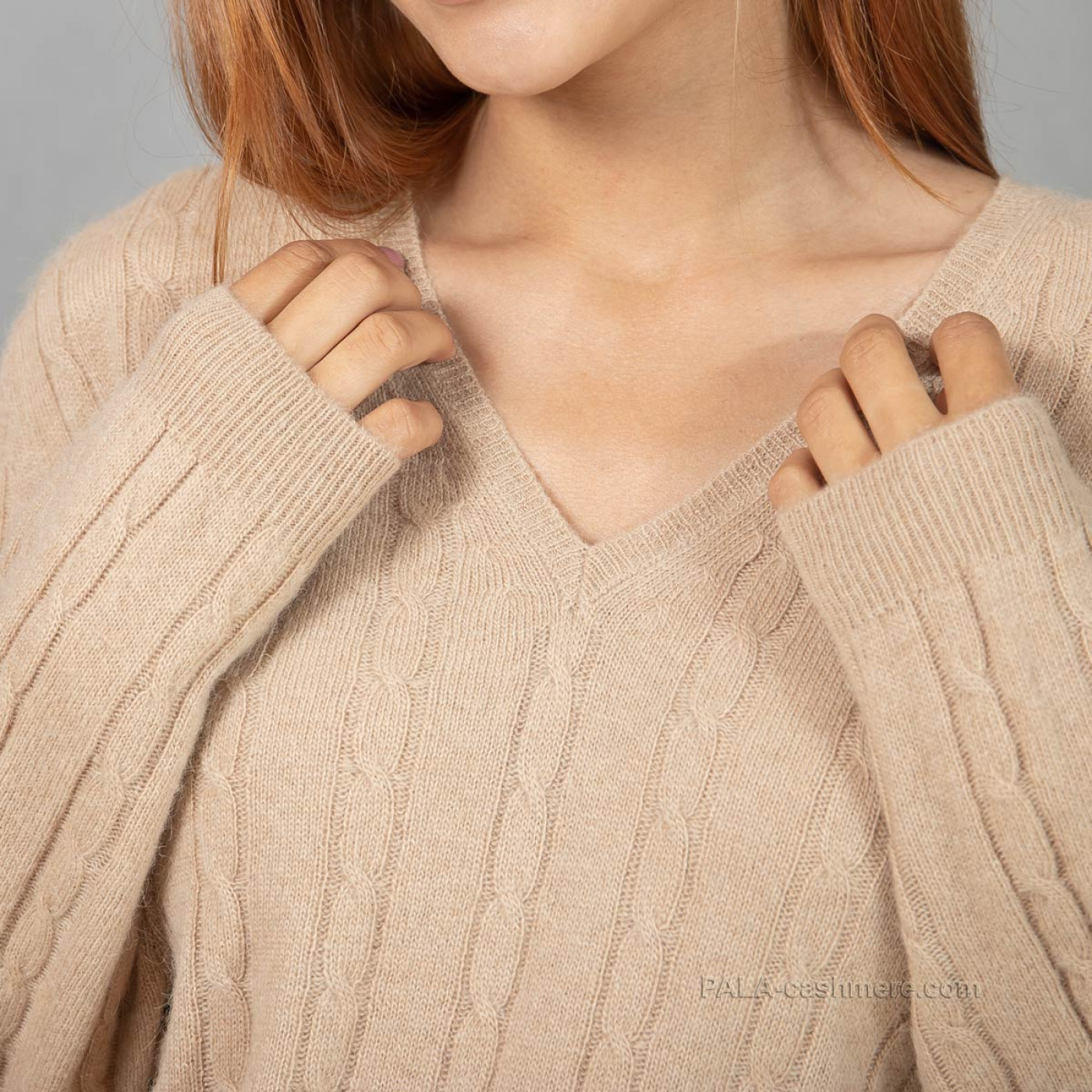 Camel hair female pullover with pattern