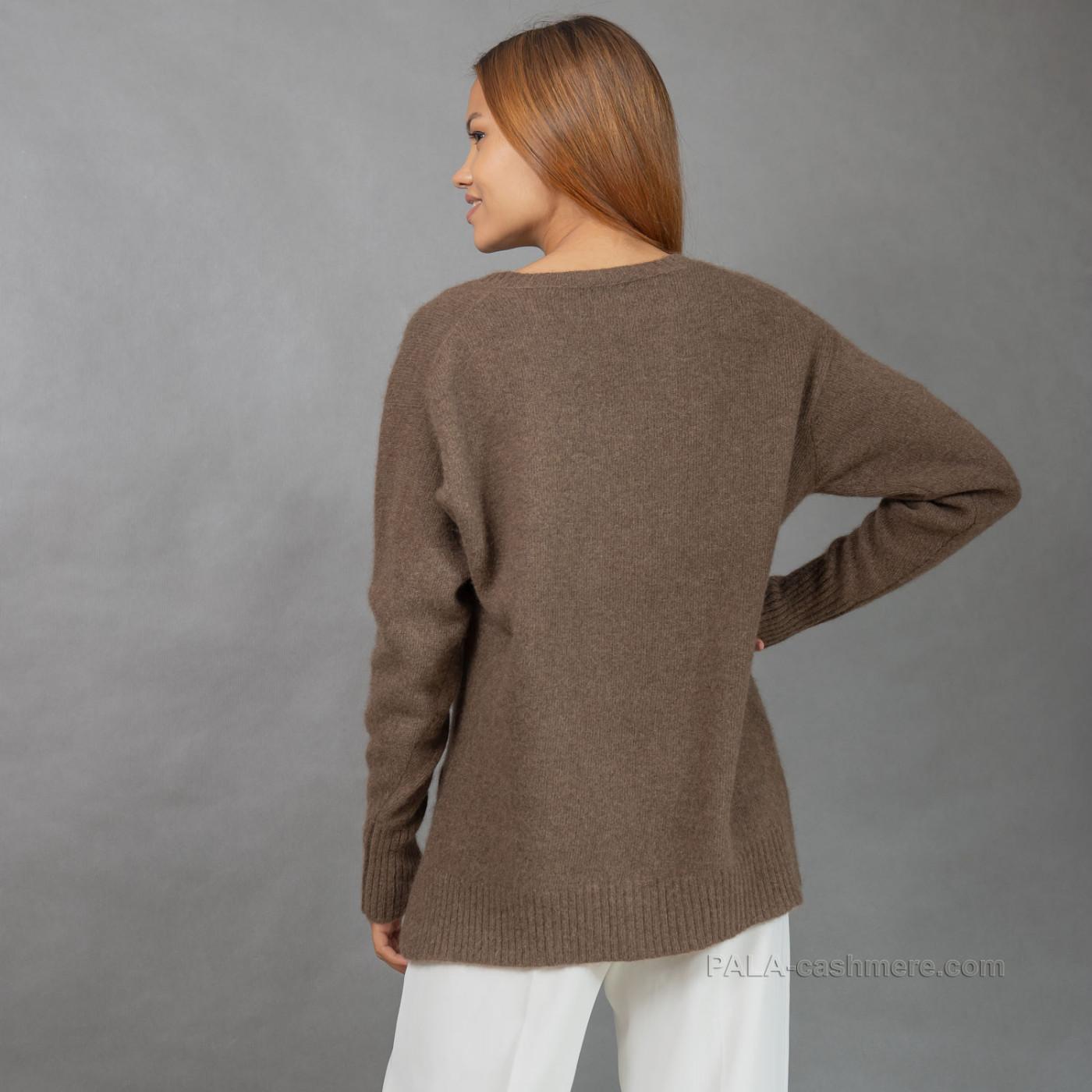 Женский удлиненный пуловер из 100% шерсти яка