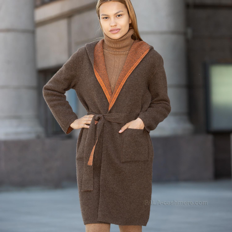 Пальто с капюшоном из шерсти яка