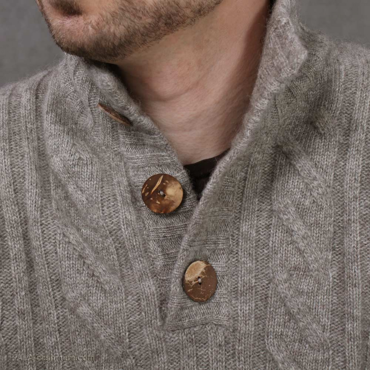 Cardigan for men from yak wool on buttons