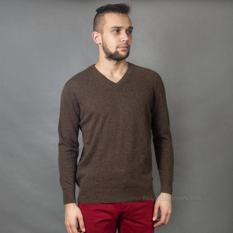 Коричневый пуловер из шерсти ягнят