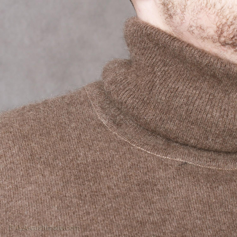 """Мужской свитер из шерсти яка цвета """"кофе"""""""
