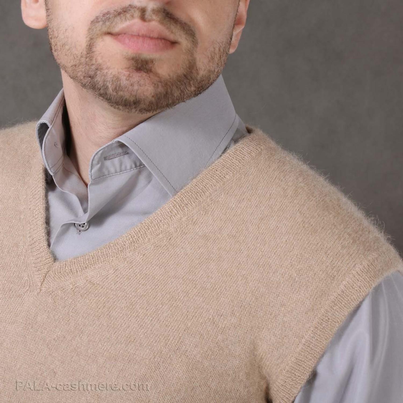 """Men's vest of camel wool color """"light camel"""""""