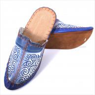 Синие мужские кожаные тапки