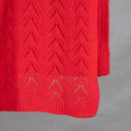 Красный палантин ажурная вязка