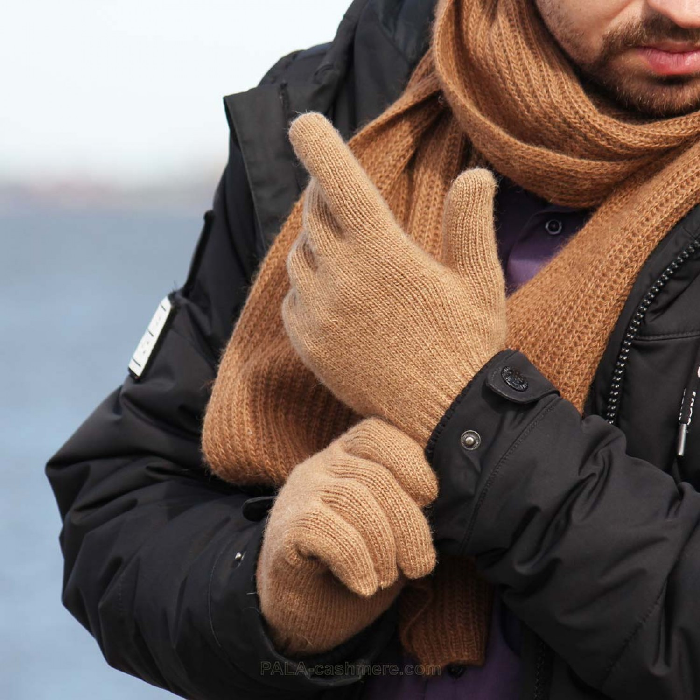Camel wool men's gloves