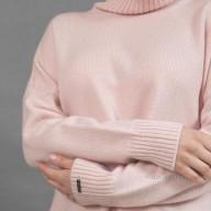 Свитер из кашемира розовый с разрезом сбоку