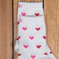 Женские белые носки с сердечками