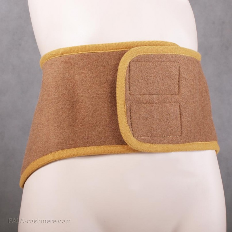 Camel hair belt with velcro