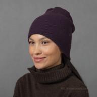 Кашемировая шапка фиолетовая