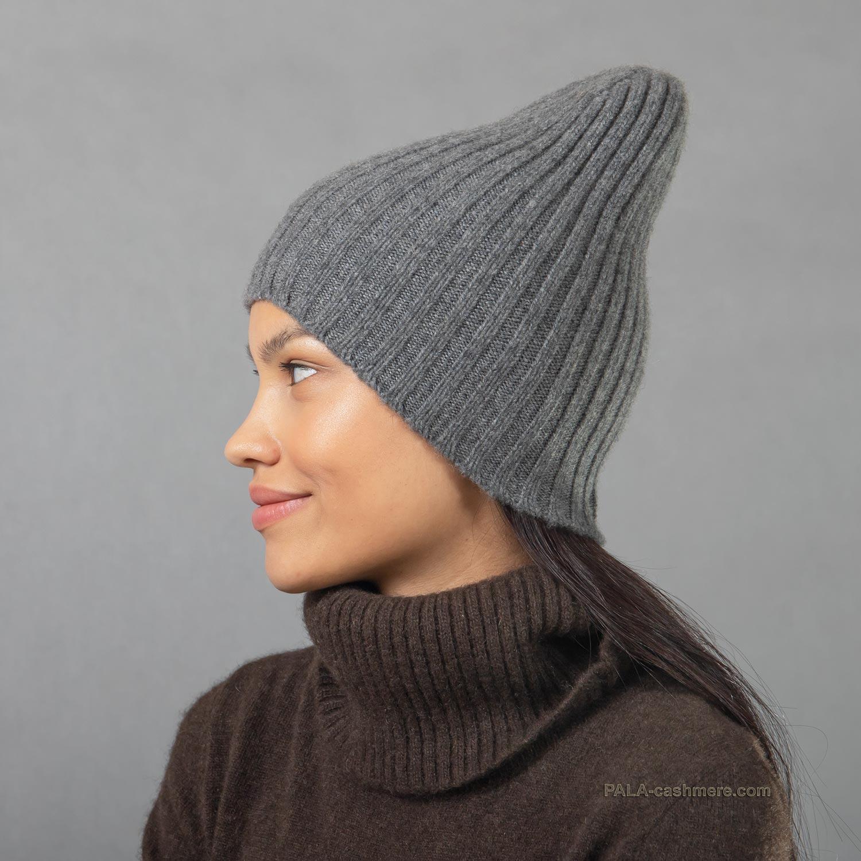 Кашемировая шапка серая