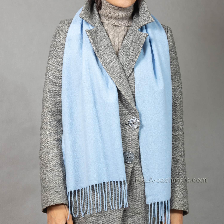 Голубой шарф из кашемира