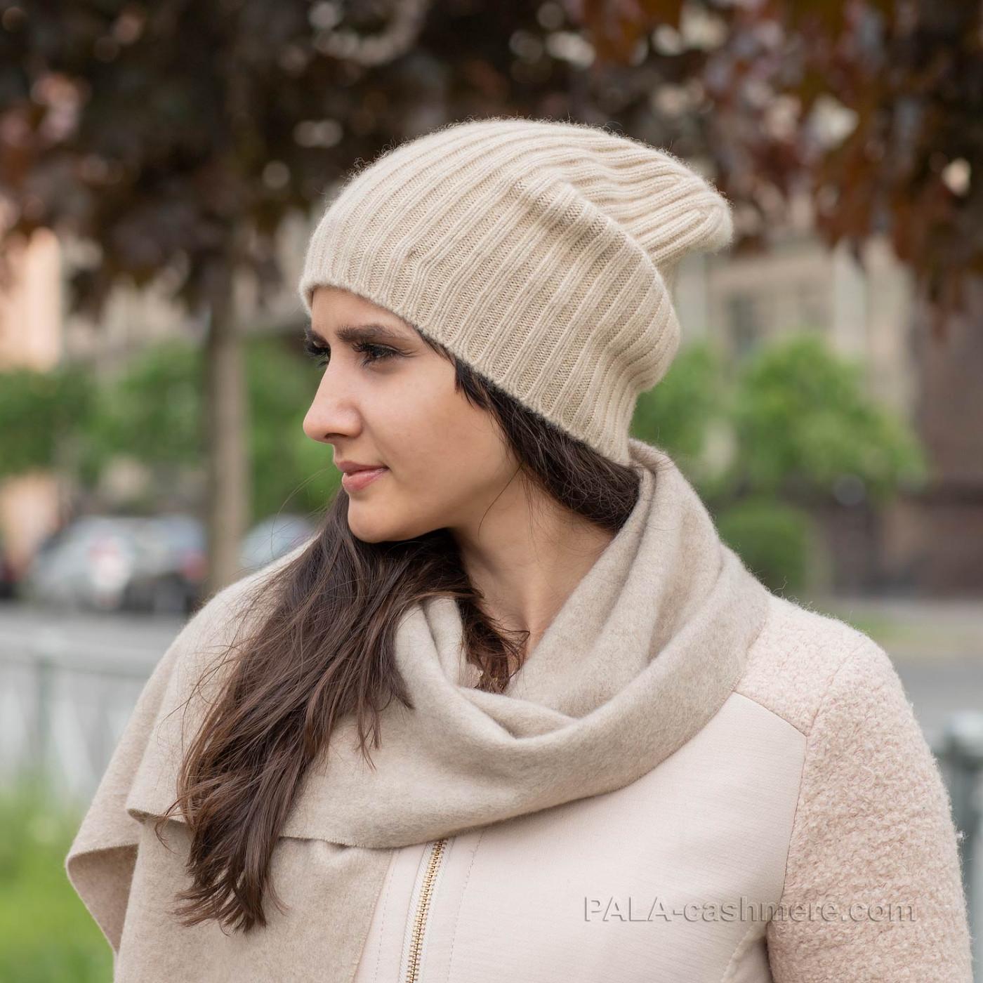 Warm women's cashmere hat