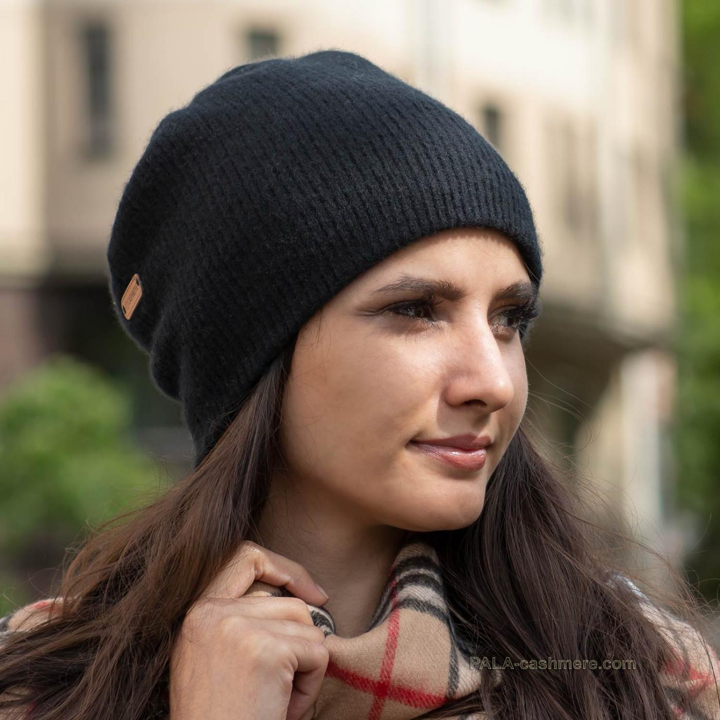 Кашемировая шапка черная