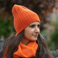 Шапка из кашемира оранжевая