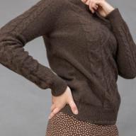 """Джемпер коричневый из шерсти яка с рисунком """"ромб"""""""