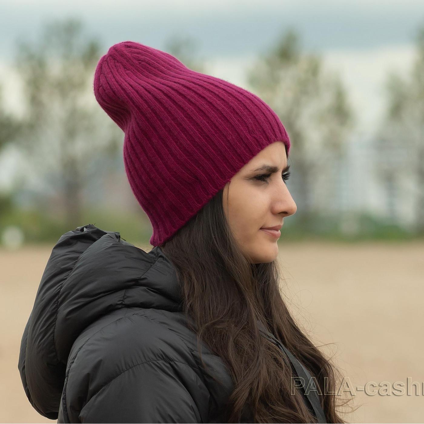Бордовая кашемировая шапка