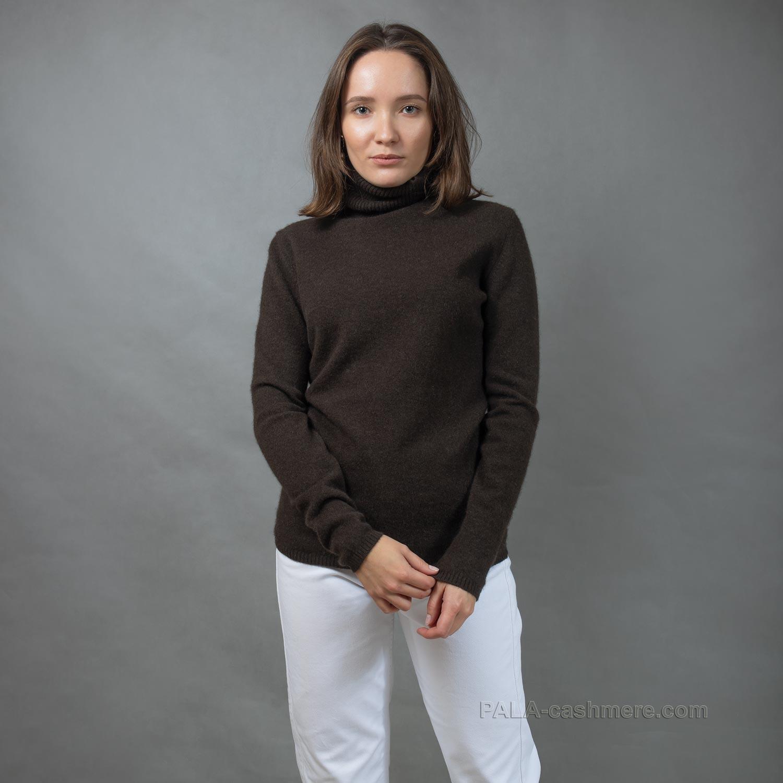 Свитер женский из шерсти яка коричневый