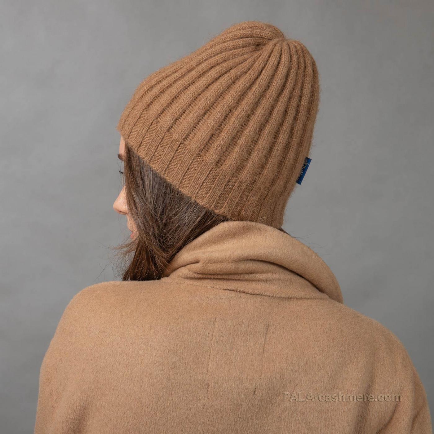 Трикотажная шапка верблюжья шерсть с помпоном