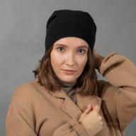 Тонкая шапка из кашемира черная
