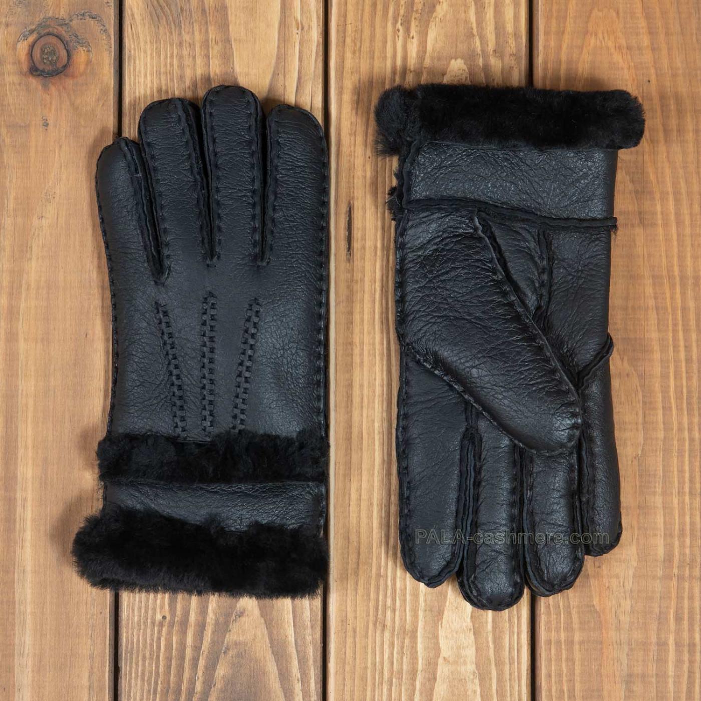 Черные женские перчатки из овчины