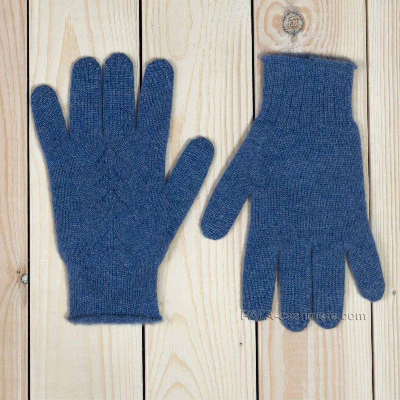 Голубые кашемировые перчатки