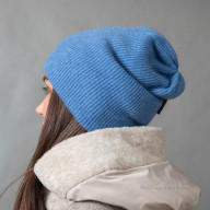 Голубая шапка из кашемира