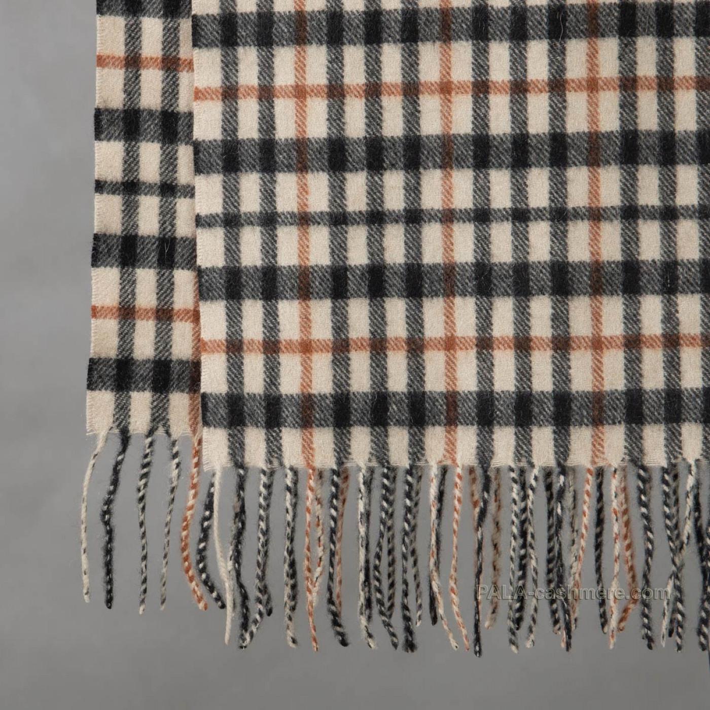 Бежевый кашемировый шарф в клетку