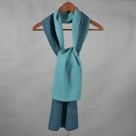 Сине-зеленый кашемировый шарф двусторонний