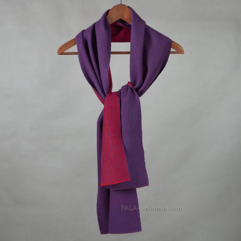 Фиолетовый кашемировый шарф двусторонний