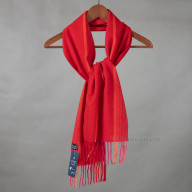 Красный шарф из кашемира в полоску