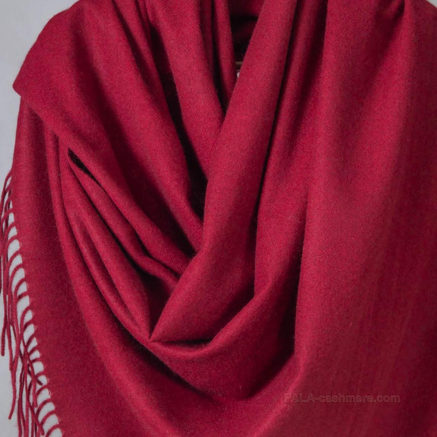 Кашемировый палантин бордовый