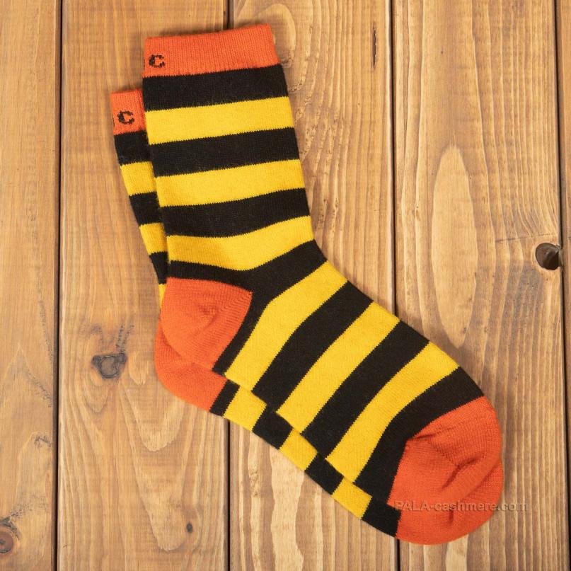 Шерстяные носки желто-черная полоска