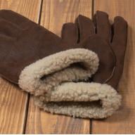 Мужские перчатки из овчины с белым мехом