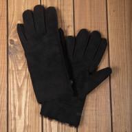Черные мужские перчатки из овчины