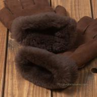 Перчатки из овчины мужские коричневые