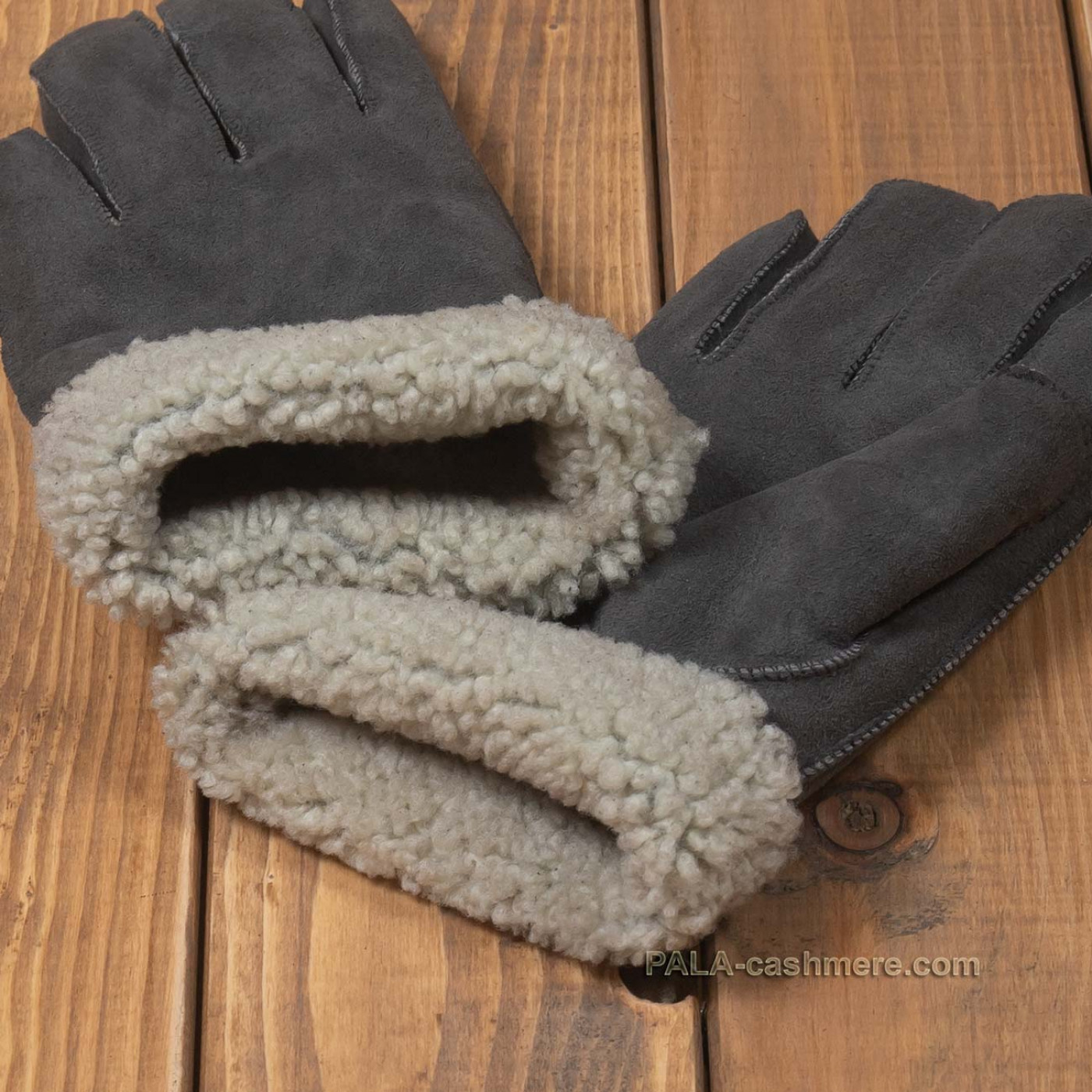 Серые перчатки из овчины
