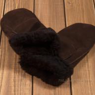 Темно-коричневые варежки из овчины