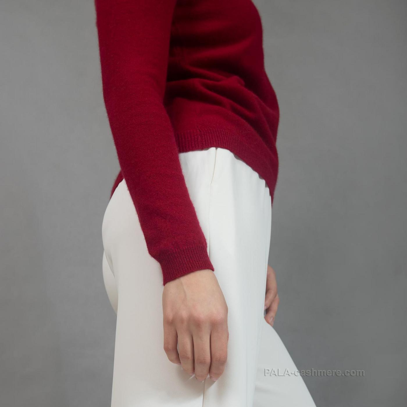 Женский бордовый пуловер из кашемира