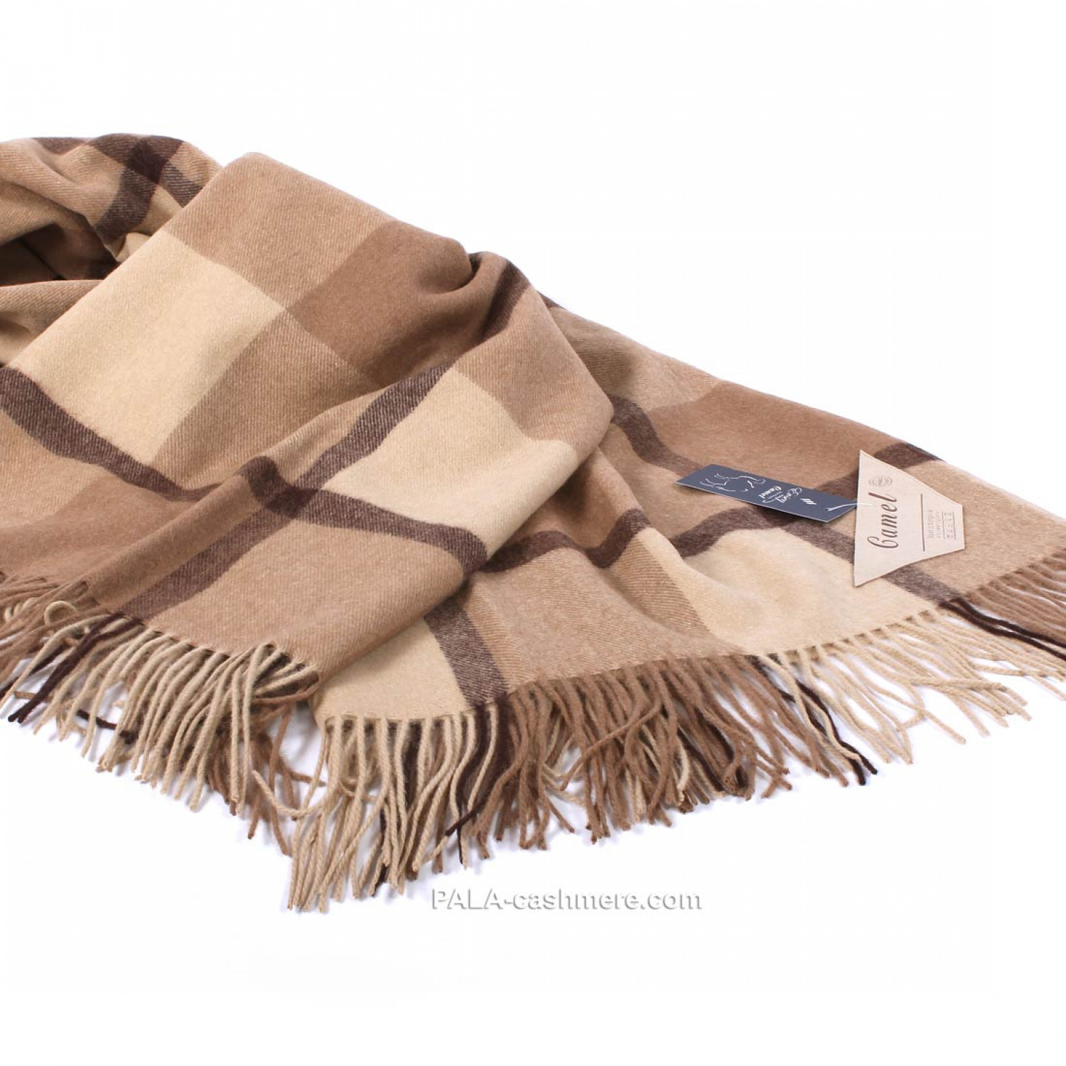 """Plaid of camel wool 150x200 cage """"camel"""""""