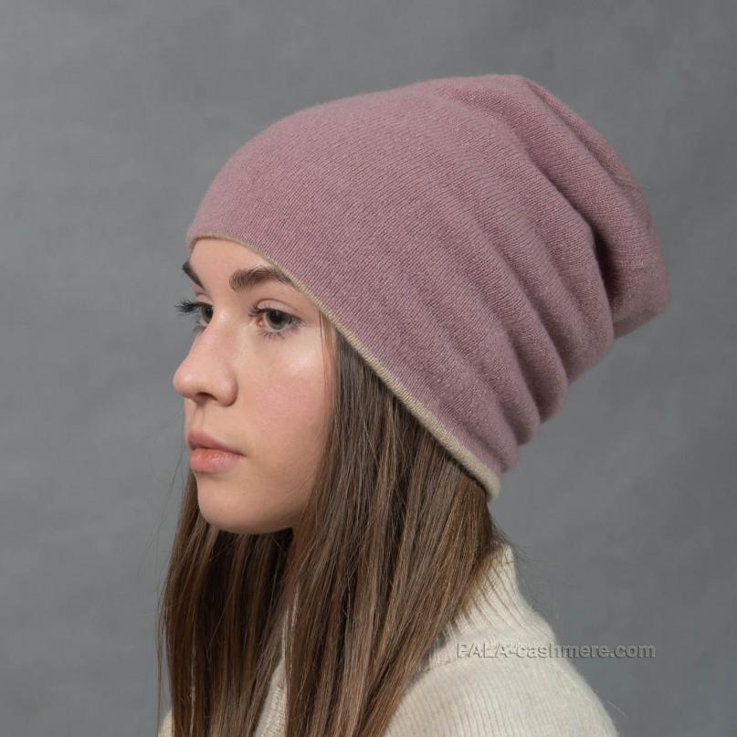 Двойная кашемировая шапка