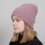 Кашемировая шапка крупной вязки