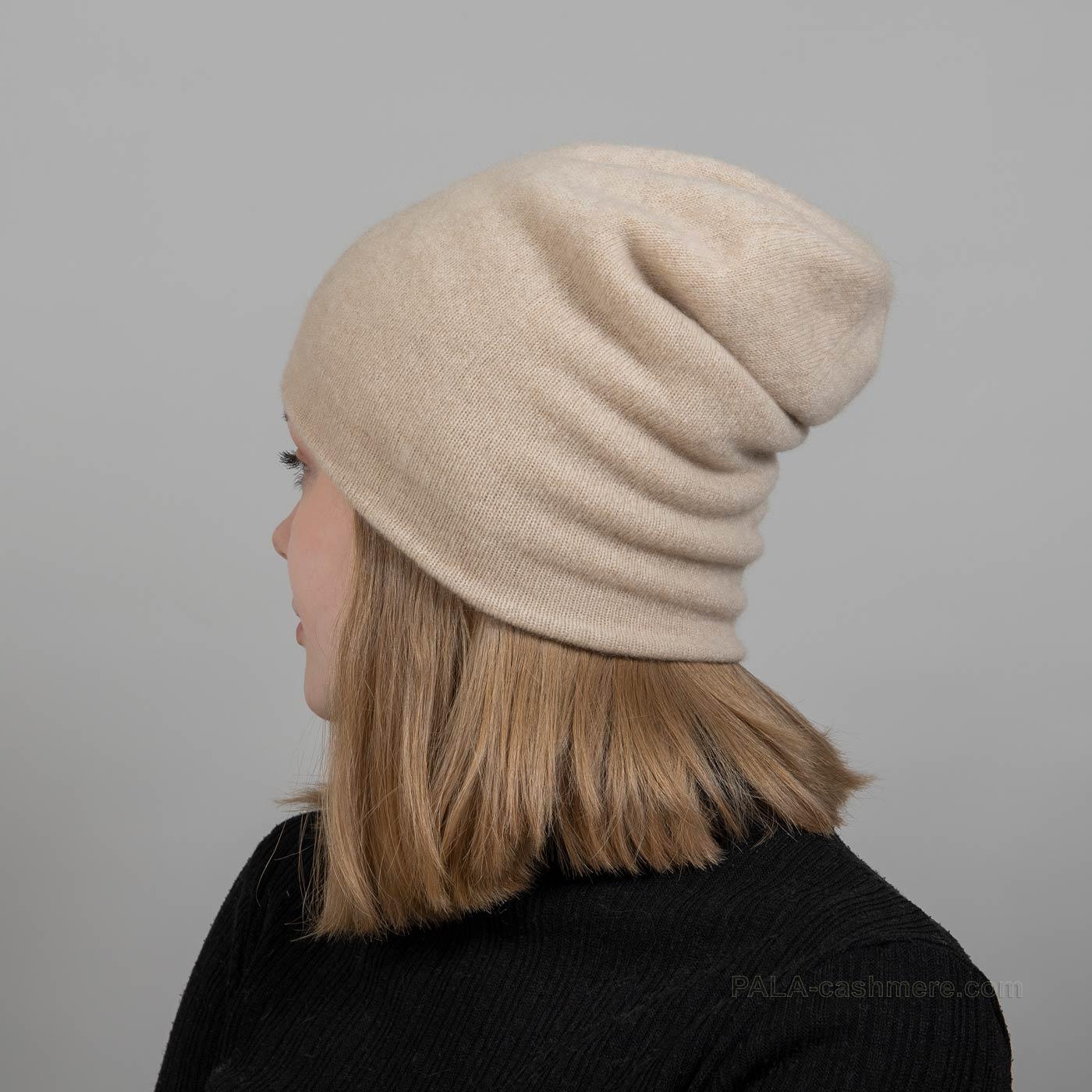 Светло-бежевая шапка кашемир