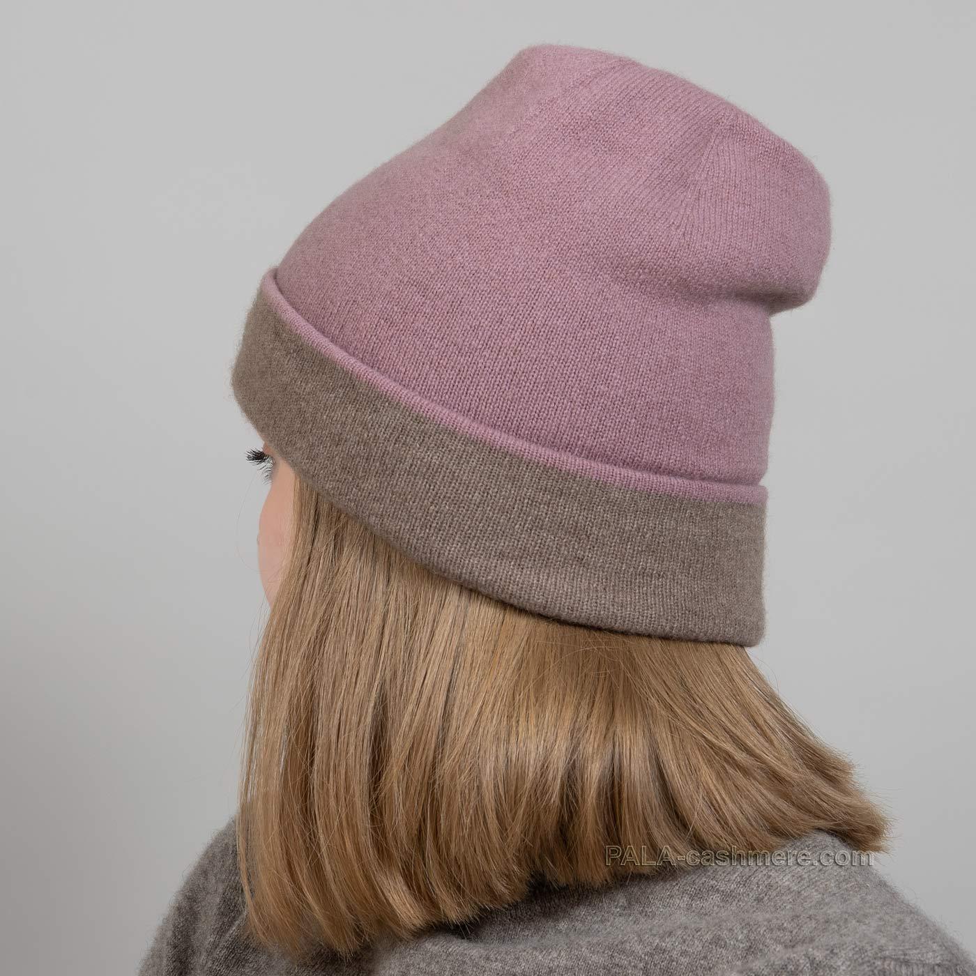 Трикотажная двустороняя шапка кашемир
