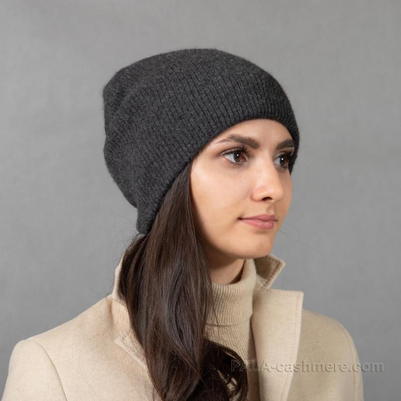 Темно-серая шапка кашемир