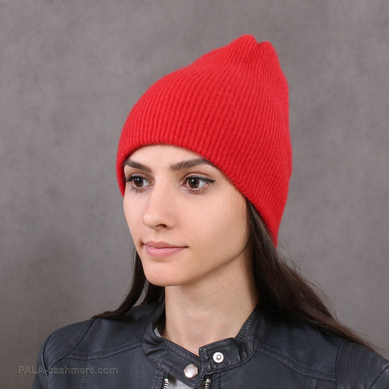 Кашемировая шапка красная двойная