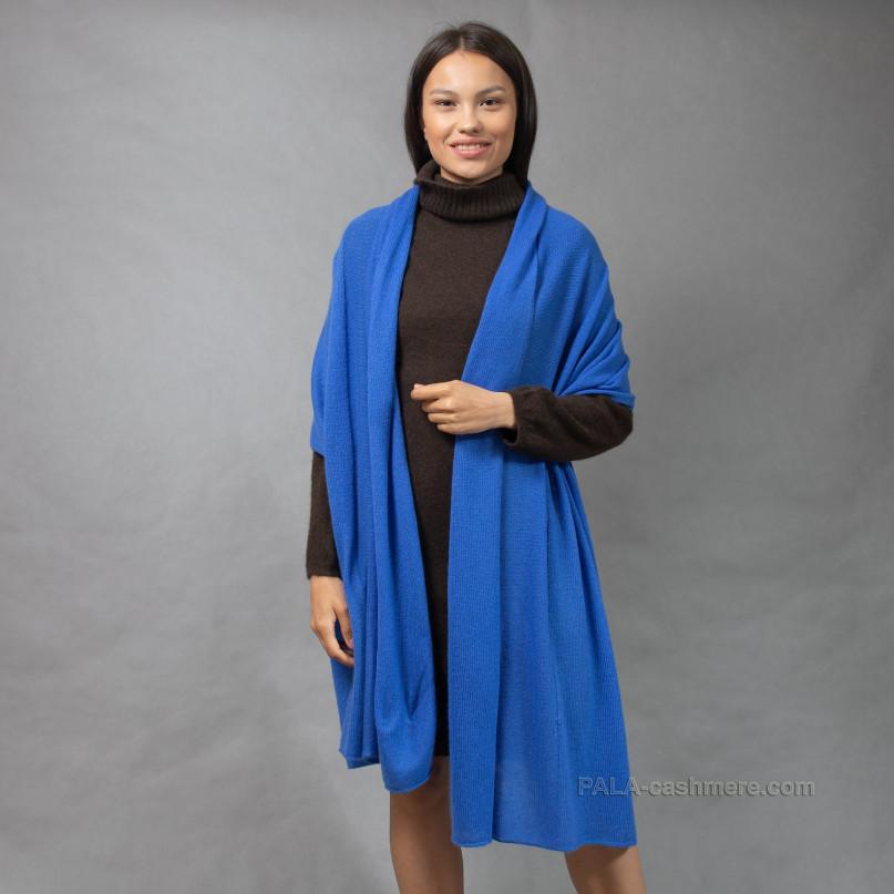 Кашемировый палантин синий