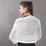 Wool stole white openwork mesh 60x80